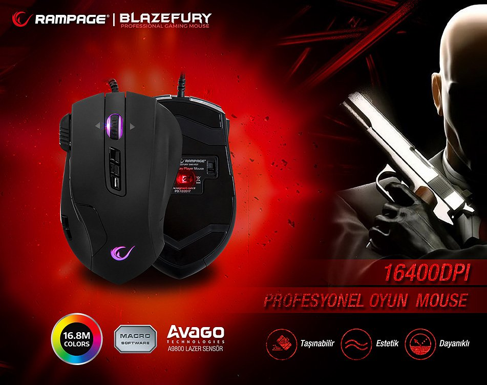 Everest Rampage Blazefury SMX-R37 16400dpi 14 Tuşlu Oyuncu Mouse...Güçlü 16400dpi Avago A9800 Lazer Sensörlü 12 Tuş Makrolu Hızlı 2ms Tepki Süreli 3 Kademeli Keskin Nişancı-Seri Atış Tuşlu Denge Ağırlıklı Rgb Profesyonel Oyuncu Mouse